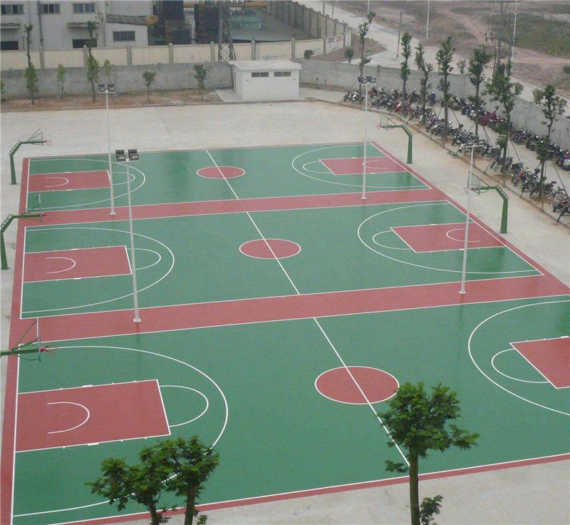 室外球场地坪漆施工中青睐的PU弹性地坪